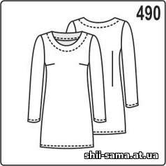 Викрійка сукні з довгими рукавами і обтачкой горловини підходить для крою з  еластичних матеріалів. Серед іншого e3a0f6dcb871d